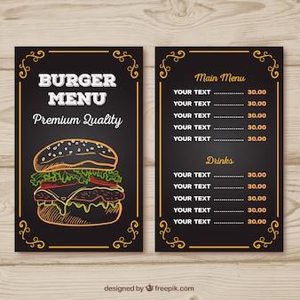 Menú de hamburguesería con diseño de tiza