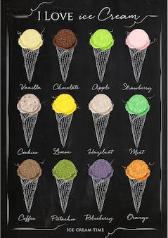 Menú de helados de tiza