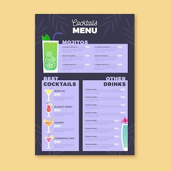 Menú de ilustración de cóctel