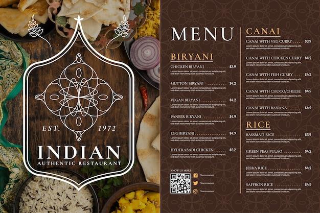 Menú indio de diseño plano