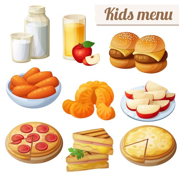 Menú infantil. conjunto de comida de dibujos animados
