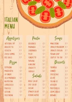 Menú italiano en el fondo de madera con textura
