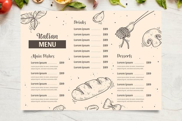 Menú italiano con platos, bebidas y postres.