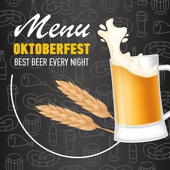 Menú, letras oktoberfest y jarra de cerveza con espuma.