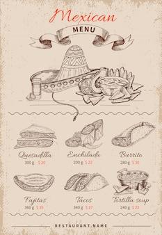 Menú mexicano dibujado a mano