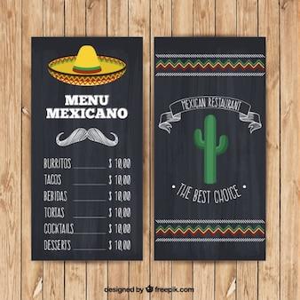Menú mexicano con sombrero y cactus en estilo pizarra
