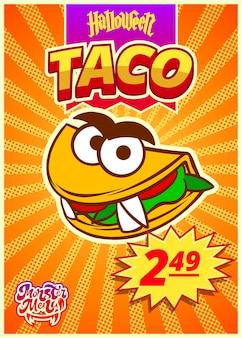 Menú monstruo con tacos mexicanos banner vertical con etiqueta de precio para el día de halloween vector clipart
