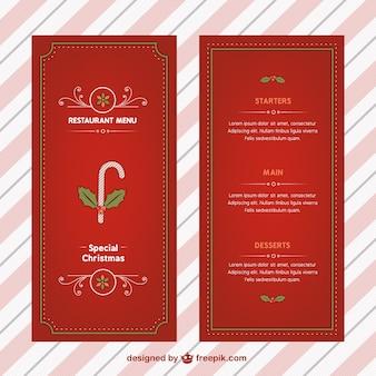 Menú de navidad con bastón de caramelo
