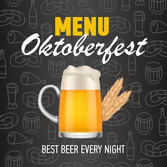 Menú, oktoberfest, mejor cerveza todas las noches rotulación.