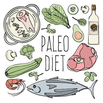 Menú de paleo comida dieta saludable baja en carb