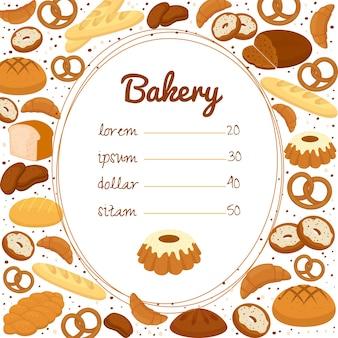 Menú de panadería o póster de precios con una lista de precios central en un marco ovalado rodeado de pretzels
