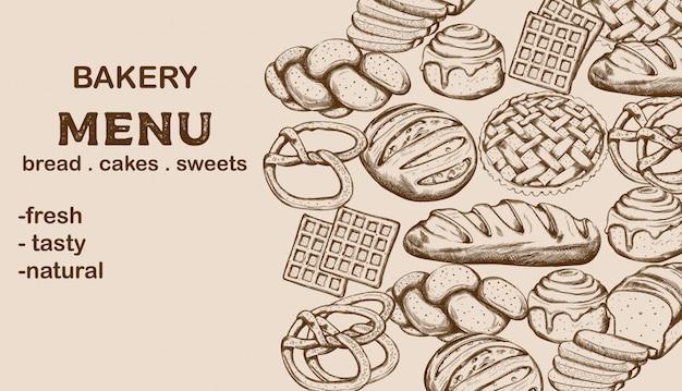 Menú de panadería con pan, pasteles, dulces y lugar para texto.