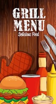 Menú a la parrilla con deliciosa comida en mesa de madera