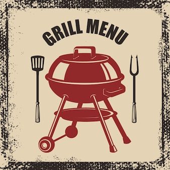 Menú a la parrilla. espátula de parrilla, tenedor y cocina sobre fondo grunge. elemento para cartel, menú. ilustración