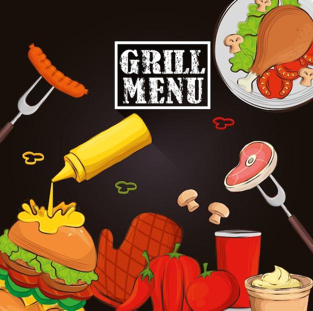 Menú a la parrilla con hamburguesas y deliciosa comida