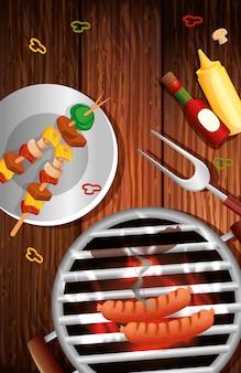 Menú de parrilla con horno e íconos en mesa de madera