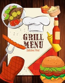 Menú a la parrilla con sombrero de chef y deliciosa comida en mesa de madera