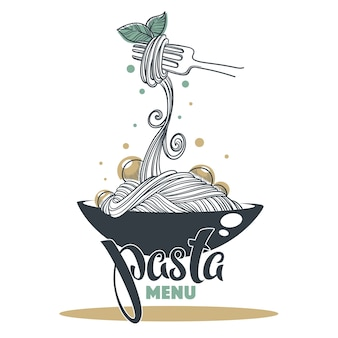 Menú de pasta, boceto dibujado a mano con composición de letras para su logotipo, emblema, etiqueta