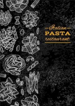 Menú de pasta. ilustración de restaurante de comida italiana. diseño de logotipo y menú sobre fondo de pizarra.