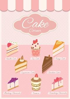 Menú de pastel en la tienda rosa.