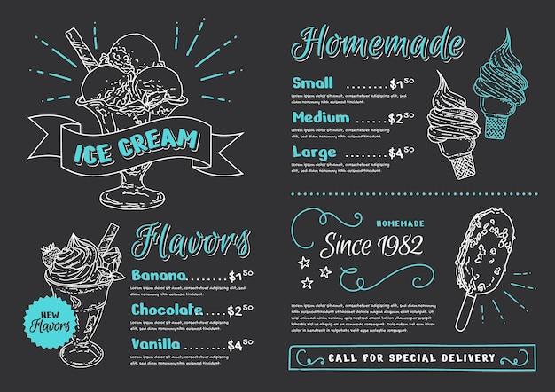 Menú de pizarra de helado dibujado a mano grabado