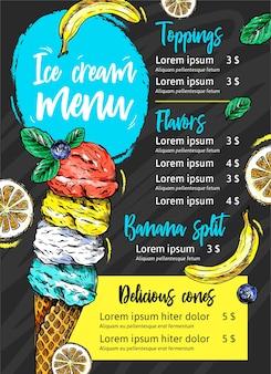 Menú de pizarra de helado dibujado a mano