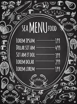 Menú de pizarra de mariscos con un marco ovalado central con una lista de precios rodeada de dibujos de líneas vectoriales blancas de pescado, calamares, langosta, cangrejo, sushi, camarones, langostinos, mejillones, salmón, filete y hierbas