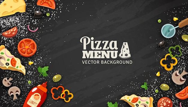 Menú de pizza fondo de pizarra