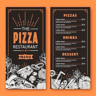 Menú de pizza moderno con pequeños dibujos.
