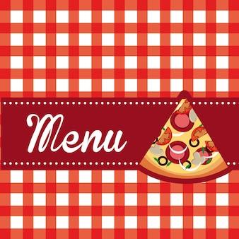 Menú de pizza sobre ilustración de vector de fondo de manteles
