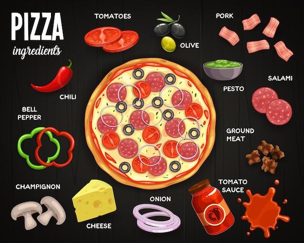 Menú de pizzería, ingredientes de pizza tomates, aceitunas y cerdo, salami, pesto y carne molida con salsa de tomate. cebolla, queso y champiñón, pimiento y chili, comida de vista superior de pizza de comida rápida