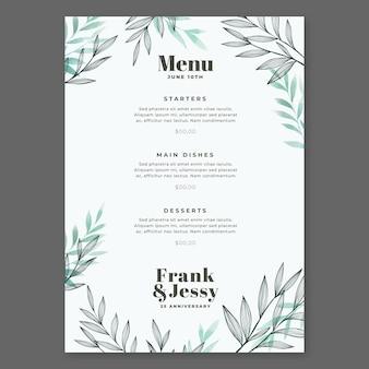 Menú del restaurante aniversario feliz boda