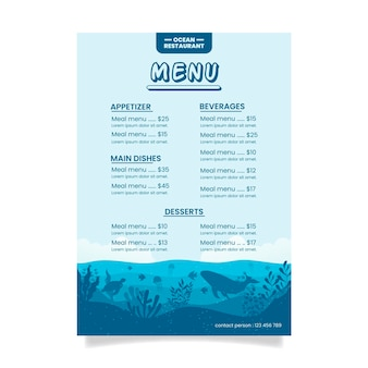 Menú del restaurante blue ocean