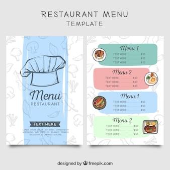 Menú de restaurante con boceto de gorro de chef