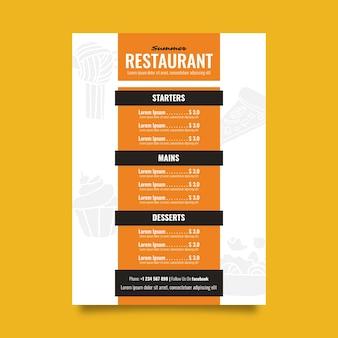 Menú de restaurante colorido plantilla