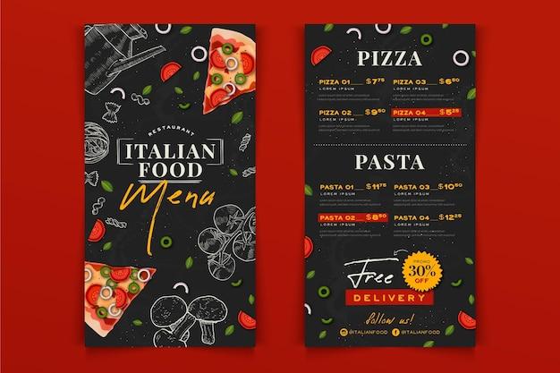 Menú de restaurante de comida italiana dibujado a mano