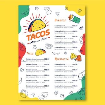 Menú de restaurante de comida mexicana