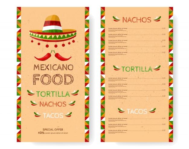 Menú de restaurante de comida mexicana.