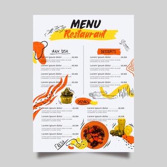 Menú de restaurante de comida picante y postres