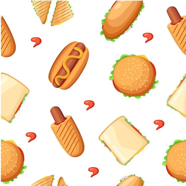 Menú de restaurante de comida rápida colección de iconos de colores con hotdog pizza pollo muslos ketchup y batido ilustración página web y elemento de aplicación móvil.