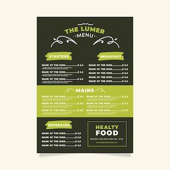 Menú de restaurante de comida saludable digital
