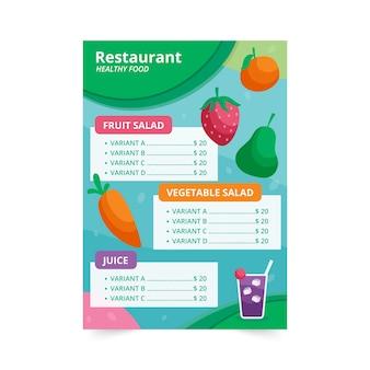 Menú de restaurante de comida saludable con frutas y verduras ilustradas
