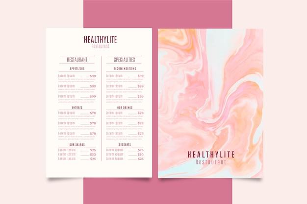 Menú de restaurante de comida saludable de mármol