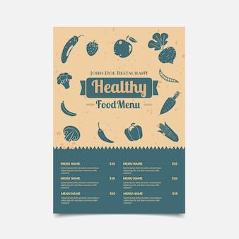 Menú de restaurante de comida sana de diseño vintage