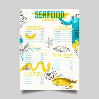 Menú de restaurante de delicatessen de mariscos