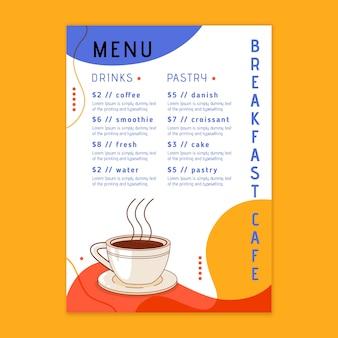 Menú del restaurante de desayuno