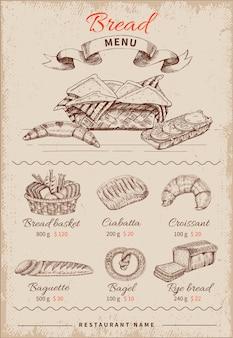 Menú de restaurante dibujado a mano de pan