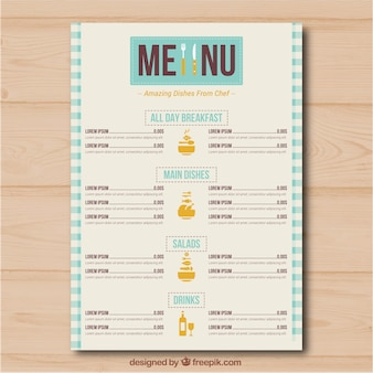 Menú restaurante con diferentes  categorías