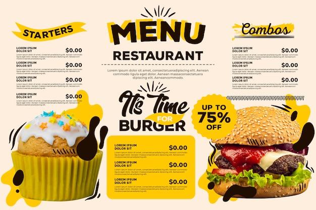Menú de restaurante digital con descuento