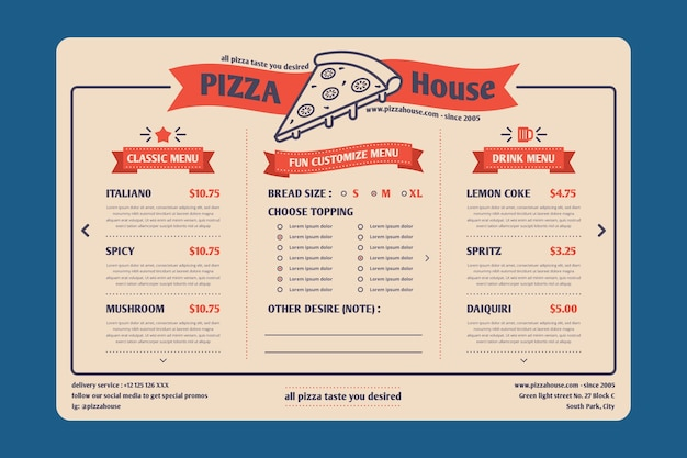 Menú de restaurante digital en formato horizontal